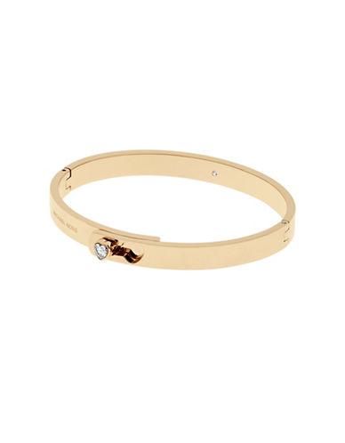 Michael Kors Modern Brilliance Cubic Zirconia Goldtone Foldover Bracelet-GOLD-One Size