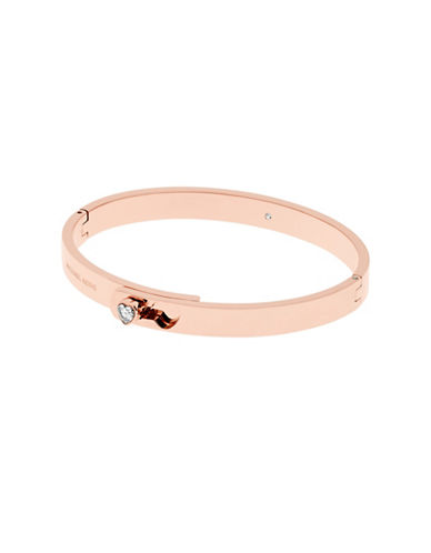 Michael Kors Modern Brilliance Cubic Zirconia Rose Goldtone Foldover Bracelet-ROSE GOLD-One Size