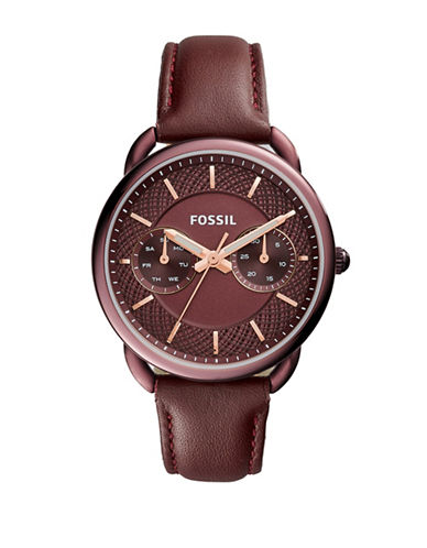 Fossil Multifunction Tailor Watch-RED-One Size