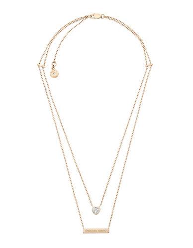 Michael Kors Goldtone Bar Pendant Necklace-GOLD-One Size