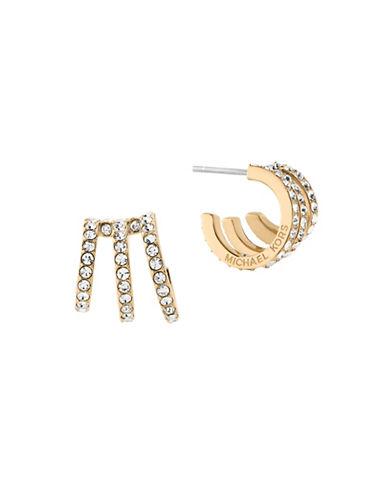 Michael Kors Modern Brilliance Cubic Zirconia Goldtone Hoop Earrings-GOLD-One Size