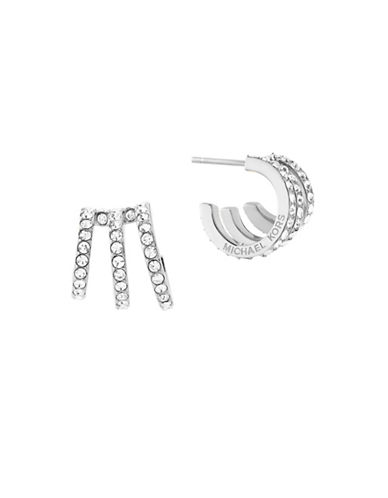 Michael Kors Modern Brilliance Cubic Zirconia Pave Huggie Earrings-SILVER-One Size