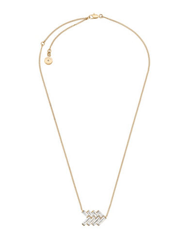 Michael Kors Cubic Zirconia and Crystal Chevron Pendant Necklace-GOLD-One Size