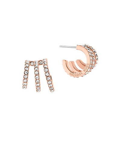 Michael Kors Modern Brilliance Cubic Zirconia Rose Goldtone Hoop Earrings-ROSE GOLD-One Size