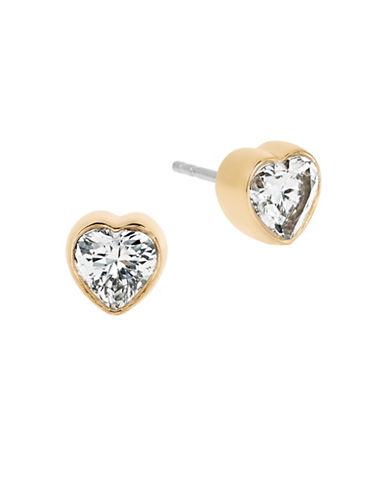 Michael Kors Goldtone Heart Stud Earrings-GOLD-One Size
