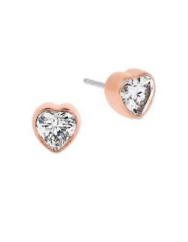 Michael Kors Rose Goldtone Heart Stud Earrings-ROSE GOLD-One Size