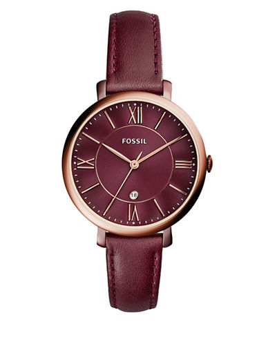 Fossil Analog Jacqueline Rose-Goldtone Leather Strap Watch-RED-One Size