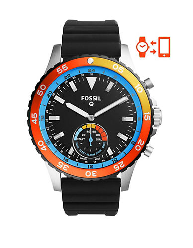 Fossil Hybrid Smartwatch - Q Crewmaster Black Silicone-GREY-One Size