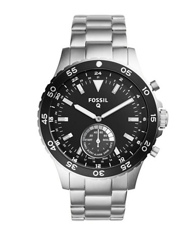 Fossil Hybrid Fossil Q Crewmaster Stainless Steel Watch-SILVER-One Size