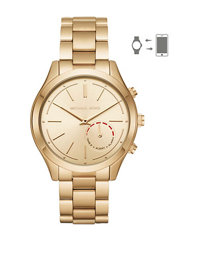 Michael Kors Slim Runway Hybrid Goldtone Bracelet Smartwatch-GOLD-One Size