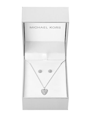 Michael Kors Pave Puffy Heart Pendant Necklace and Pave Dome Stud Earrings-SILVER-One Size