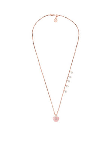 Michael Kors Carved Heart Rose Quartz and Cubic Zirconia Rose Goldtone Pendant Necklace-PINK-One Size