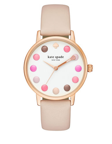 Kate Spade New York Analog Metro Make-Up Goldtone Leather Strap Watch-ROSE GOLD-One Size