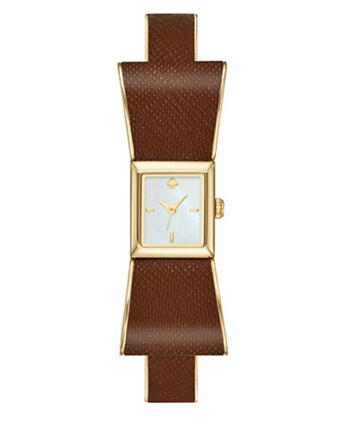 Kate Spade New York Analog Kenmare Bow Goldtone Leather Strap Watch-BROWN-One Size