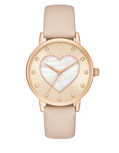 Kate Spade New York Analog Metro Valentines Goldtone Leather Strap Watch-ROSE GOLD-One Size