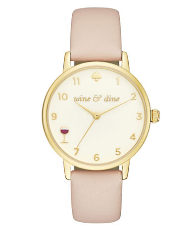Kate Spade New York Analog Wine and Dine Leather Strap Watch-GOLD-One Size