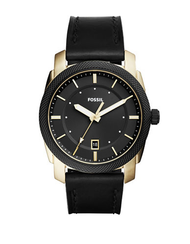 Fossil Analog Machine Three-hand Date Black Leather Strap Watch-BLACK-One Size