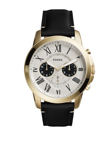 Fossil Chronograph Dress Grant Goldtone Leather Strap Watch-BLACK-One Size