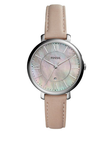 Fossil Analog Jacqueline Stainless Steel Leather Strap Watch-PINK-One Size