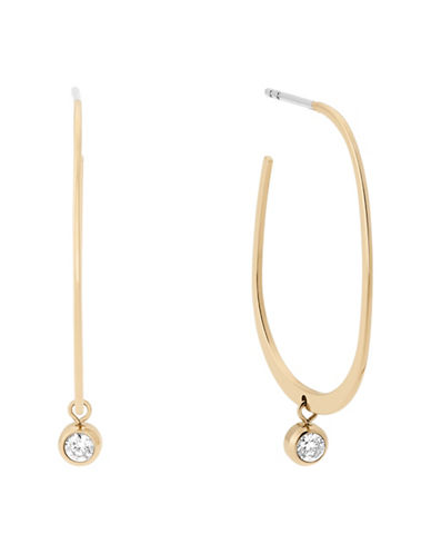 Michael Kors Drop Stone Post Hoop Earrings-GOLD-One Size