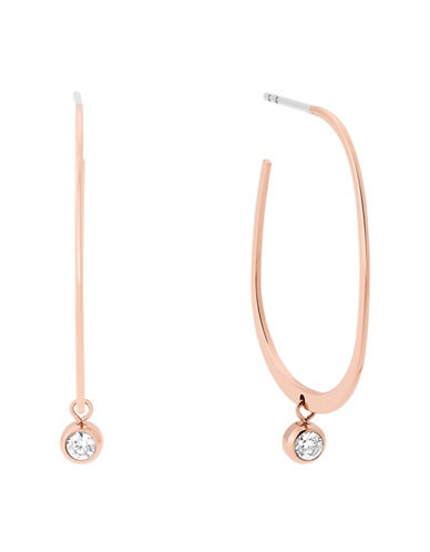 Michael Kors Brilliance Cubic Zirconia and Crystal Hoop Earrings-ROSE GOLD-One Size