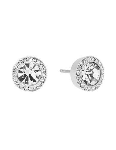 Michael Kors Pave-Framed Stud Earrings-SILVER-One Size