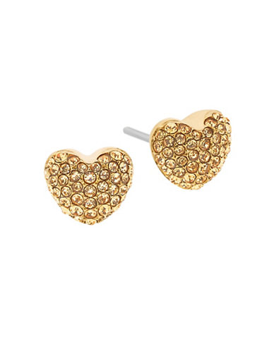 Michael Kors Pave Hearts Semi-Precious Topaz Goldtone Stud Earrings-YELLOW-One Size