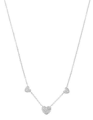 Michael Kors Pave Hearts Silvertone Station Pendant Necklace-SILVER-One Size