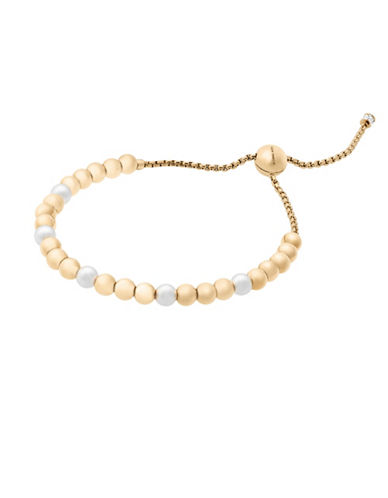 Michael Kors Beaded Goldtone Slider Bracelet-PEARL-One Size