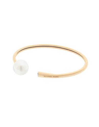 Michael Kors Beaded Goldtone Flex Bracelet-PEARL-One Size