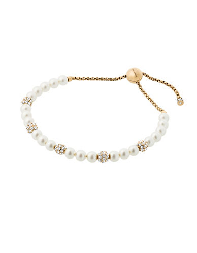 Michael Kors Beaded Goldtone Crystal Pave Slider Bracelet-PEARL-One Size