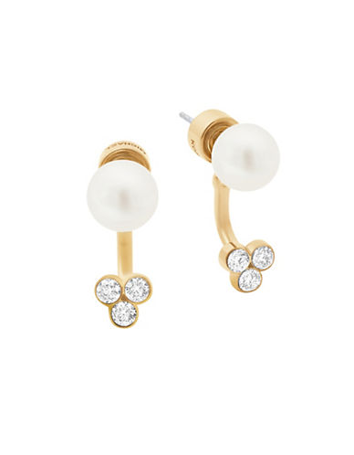 Michael Kors Beaded Goldtone Stud Drop Earrings-PEARL-One Size