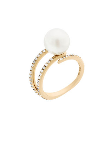 Michael Kors Beaded Goldtone Pave Open Ring-PEARL-6