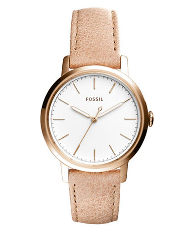 Fossil Analog Neely Goldtone Leather Strap Watch-ROSE GOLD-One Size