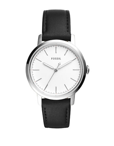 Fossil Analog Neely Stainless Steel Leather Strap Watch-BLACK-One Size