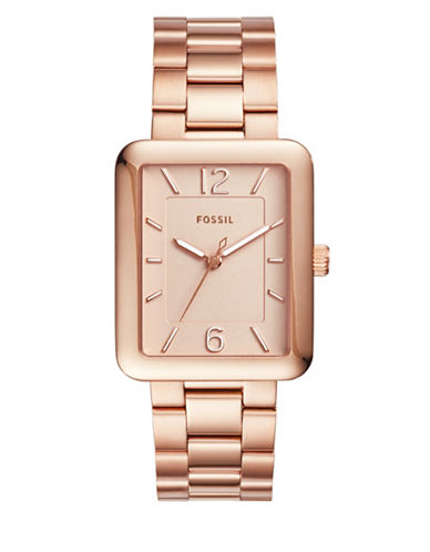 Fossil Analog Atwater Rose-Goldtone Bracelet Watch-ROSE GOLD-One Size