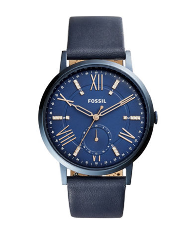 Fossil Chronograph Gazer Blue IP Leather Strap Watch-BLUE-One Size
