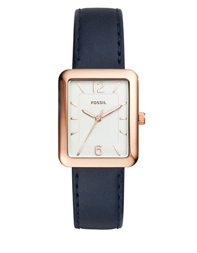 Fossil Analog Atwater Goldtone Leather Strap Watch-BLUE-One Size