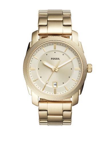 Fossil Chronograph Machine Goldtone Bracelet Watch-GOLD-One Size