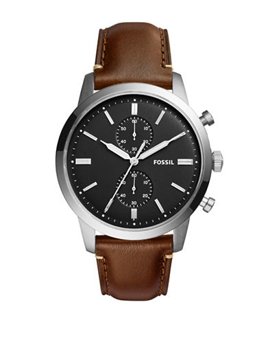 Fossil Chronograph Townsman Stainless Steel Leather Strap Watch-BROWN-One Size