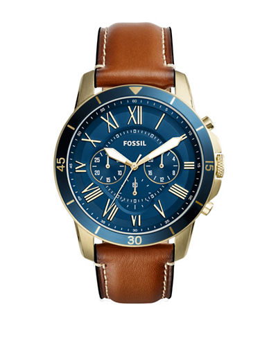 Fossil Chronograph Grant Sport Two-Tone Leather Strap Watch-BROWN-One Size