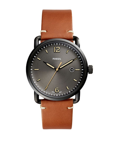 Fossil Analog Commuter Grey IP Leather Strap Watch-BROWN-One Size