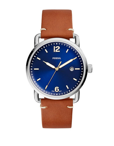Fossil Analog Commuter Stainless Steel Leather Strap Watch-BROWN-One Size