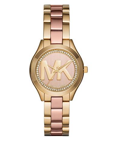 Michael Kors Analog Mini Runway Two-tone Bracelet Watch-TWO TONE-One Size