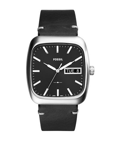 Fossil Analog Rutherford Stainless Steel Leather Strap Watch-BROWN-One Size