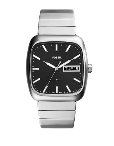 Fossil Analog Rutherford Stainless Steel Bracelet Watch-SILVER-One Size
