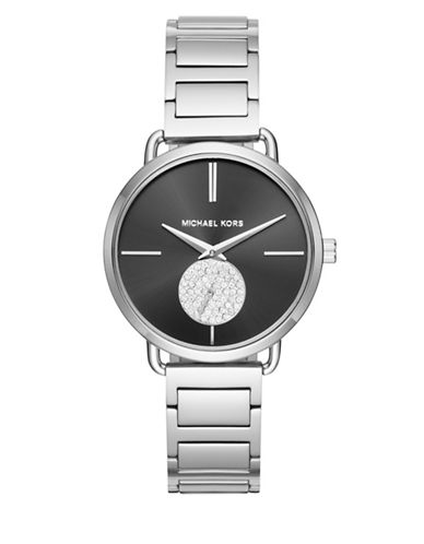 Michael Kors Chronograph Portia Pave Stainless Steel Bracelet Watch-SILVER-One Size