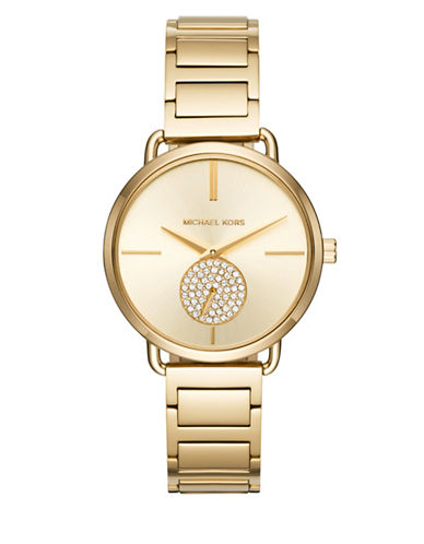 Michael Kors Chronograph Portia Pave Goldtone Bracelet Watch-GOLD-One Size