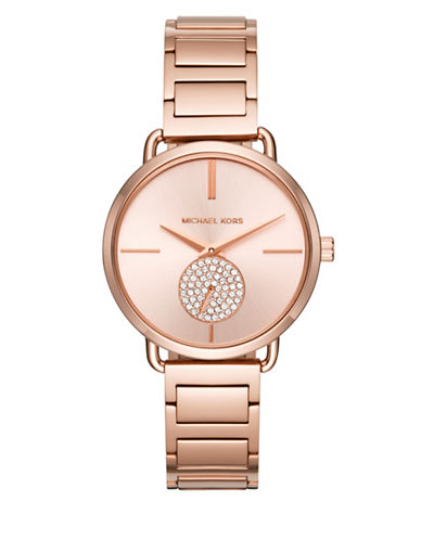 Michael Kors Chronograph Portia Pave Rose-Goldtone Bracelet Watch-ROSE GOLD-One Size