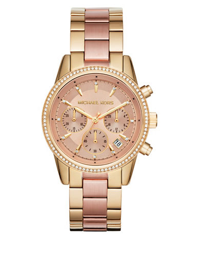 Michael Kors Chronograph Ritz Two-Tone Bracelet Watch-TWO TONE-One Size